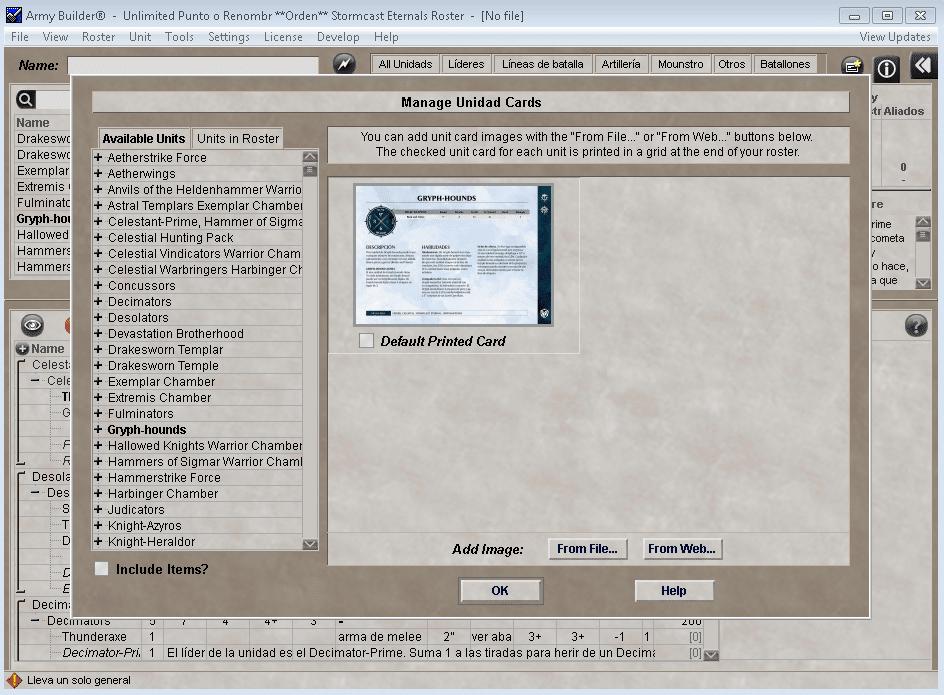 Army Builder Age of Sigmar datafiles español