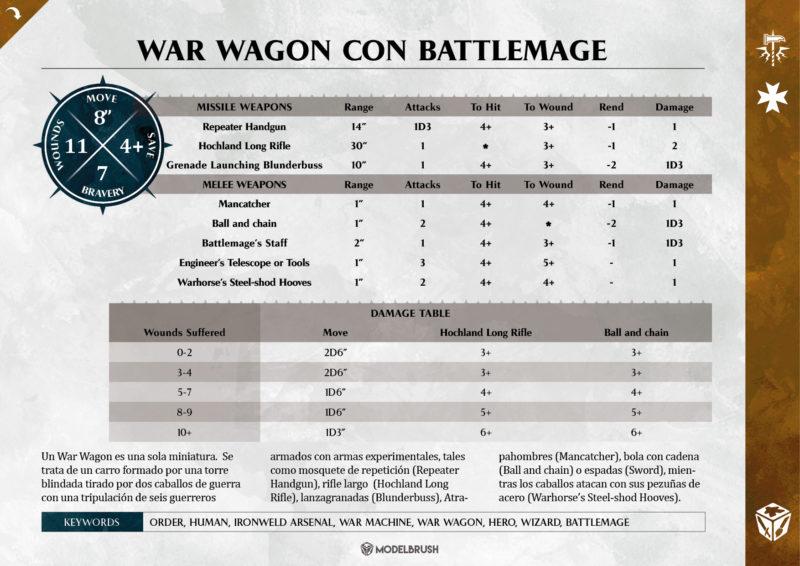 Freeguild War Wagon con Battlemage para Age of Sigmar