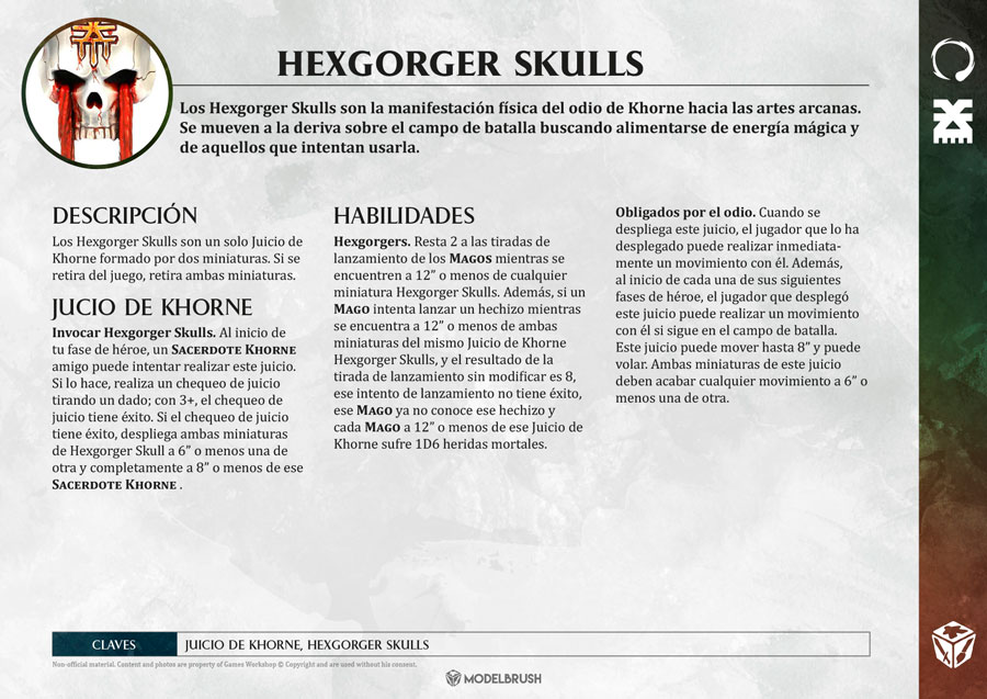 Tarjetas de Warscrolls Blades of Khorne para Age of Sigmar
