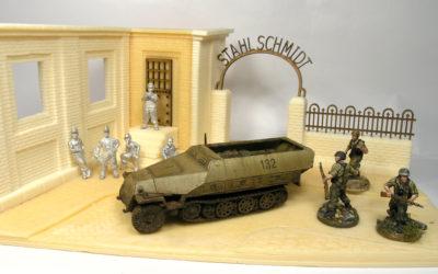 Tripulación de carro alemana y base para diorama en 28mm